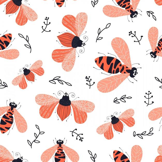 Vector seamless pattern - cartoon bug or beetle, flat Premium Vector