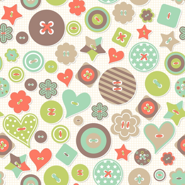 Vector seamless pattern. colorful creative background of colored buttons different form Premium Vector