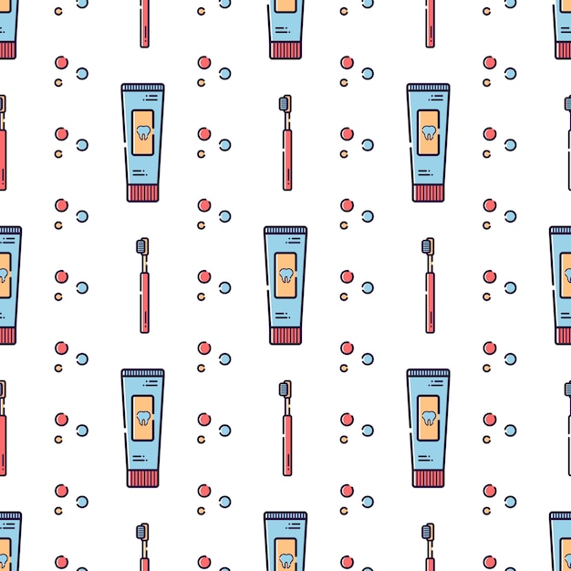 Vector seamless pattern on dental theme. Premium Vector