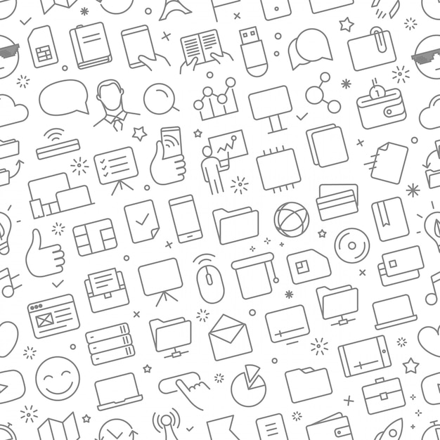 Vector seamless pattern of different web icons set Premium Vector