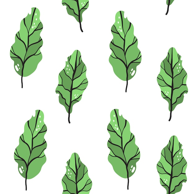Vector seamless pattern in doodle style. cabbage leaves, chard. Premium Vector