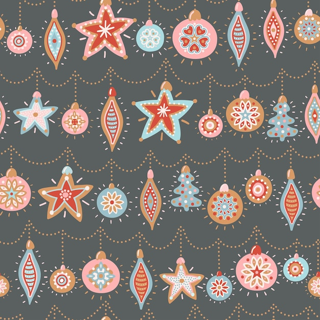 新年とクリスマスのベクトルのシームレスなパターン。クリスマスツリーのおもちゃでかわいい手描きイラスト。 Premiumベクター