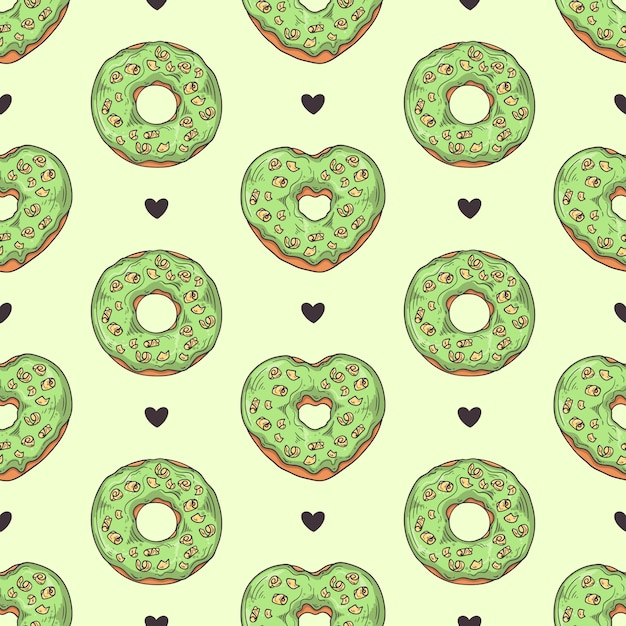 Vector seamless pattern. glazed donuts decorated with toppings, chocolate, nuts. Premium Vector