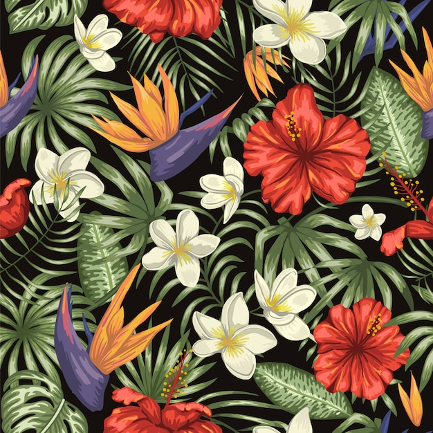 Vector seamless pattern of green tropical leaves with plumeria, strelitzia and hibiscus flowers. summer or spring repeat tropical Premium Vector