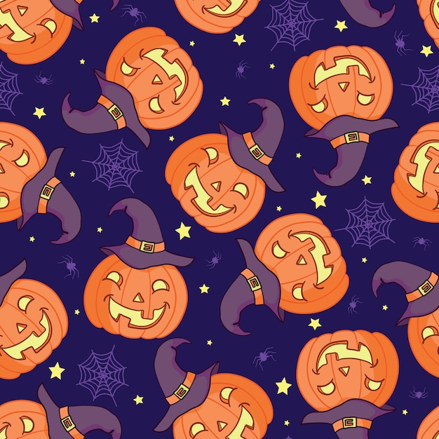 Vector seamless pattern for halloween. pumpkin, ghost, bat, candy, and other items on halloween theme. bright cartoon pattern for halloween Premium Vector
