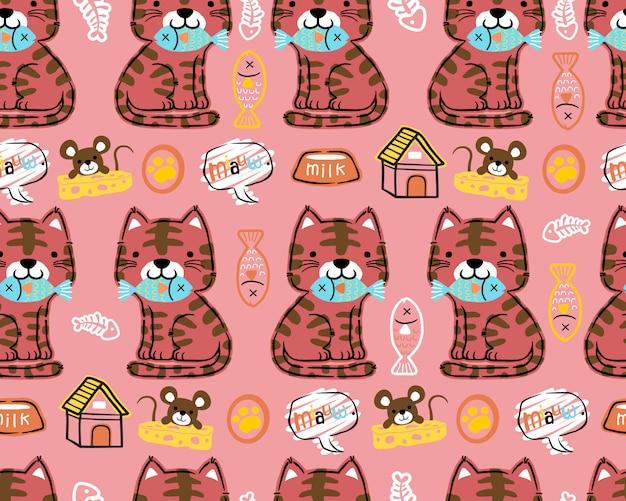 Вектор бесшовный фон из мультфильма кошка Premium векторы