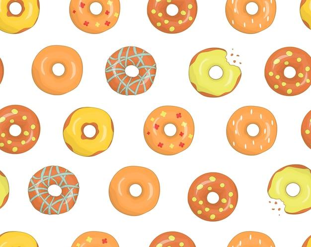 カラフルなドーナツのシームレスなパターンベクトル Premiumベクター