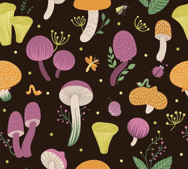 果実、葉、昆虫と平らな面白いキノコのシームレスなパターンベクトル。秋のリピートスペース。黒の背景にかわいい菌類イラスト Premiumベクター