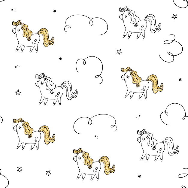 Vector seamless pattern. pony, gold texture Premium Vector