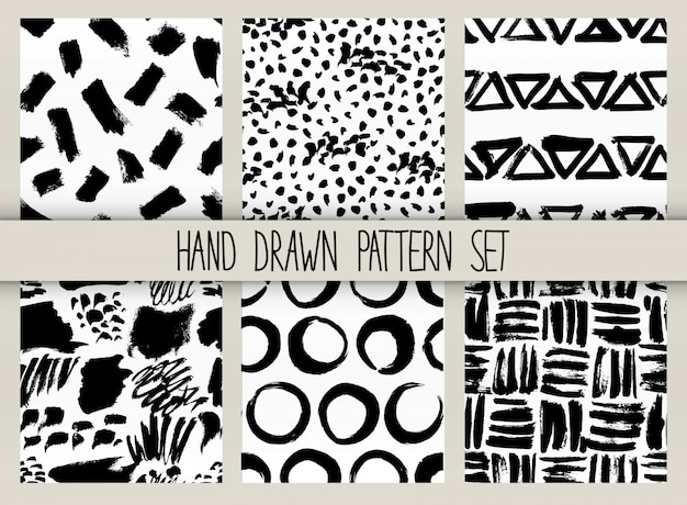 Vector seamless pattern set. repeatable texture with black ink drawn strokes collection Premium Vector