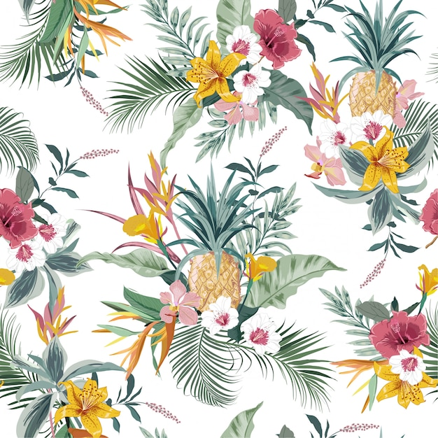 Vector seamless pattern tropical colorful exotic forest Premium Vector