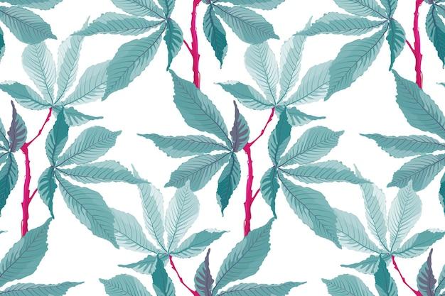 ベクトルのシームレスなパターン。熱帯の花の背景。白い背景で隔離の赤い茎のターコイズの葉。 Premiumベクター