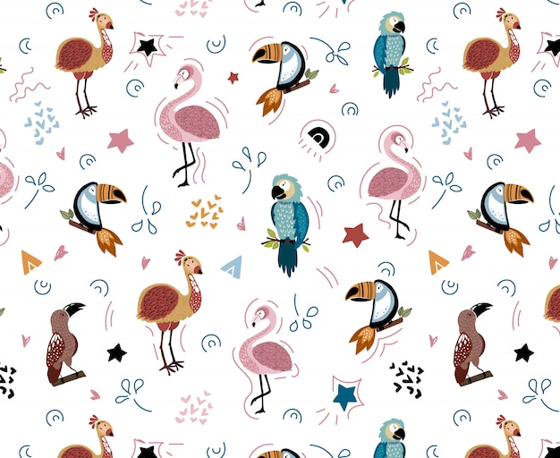 Vector seamless pattern with african birds Premium Vector