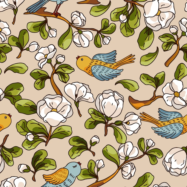 Vector seamless pattern with apple blossom and birds. beautiful hand drawn texture. Premium Vector