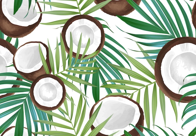 Vector seamless pattern with coconut. tropical exotic fruits. Premium Vector