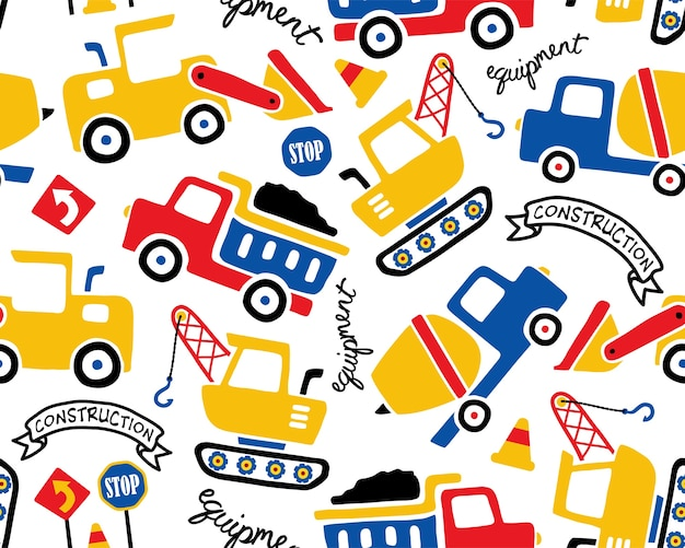 Vector seamless pattern with construction vehicles cartoon Premium Vector