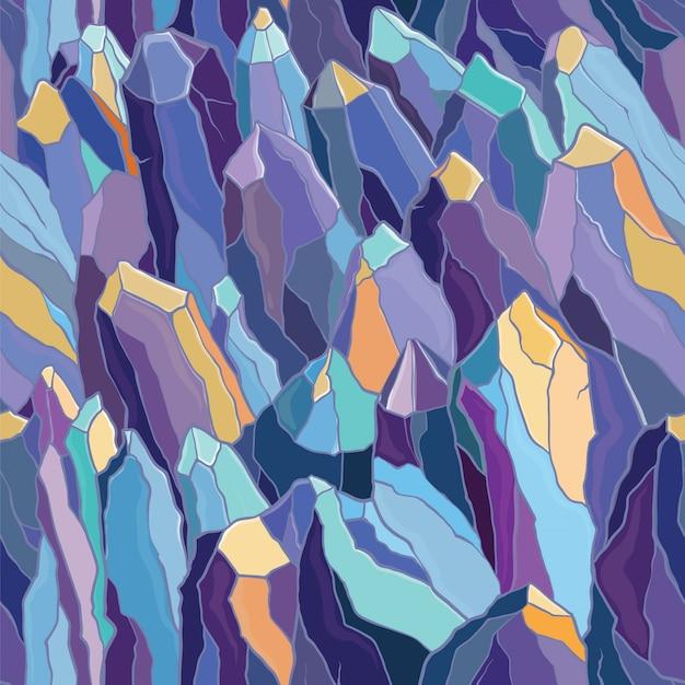 結晶と石のシームレスなパターンベクトル。紫、青、黄色の色。のテンプレート。 Premiumベクター