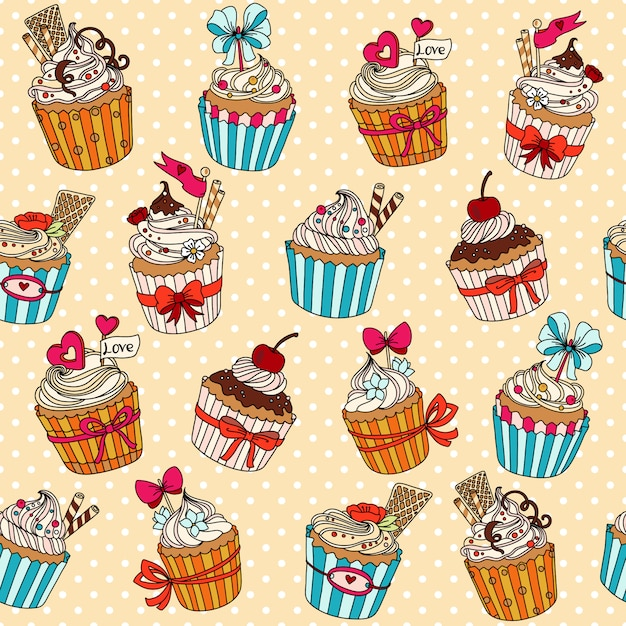 Vector seamless pattern with cupcakes Premium Vector