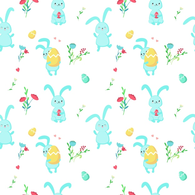 Vector seamless pattern with cute easter rabbits Premium Vector