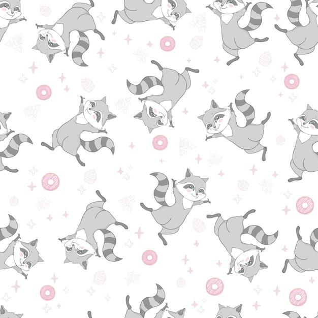 Вектор бесшовный образец с милым енотом, пончиками и леденцами на розовом фоне. векторная иллюстрация Premium векторы