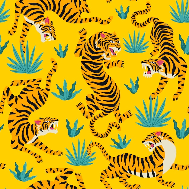 Vector seamless pattern with cute tigers on background. Premium Vector