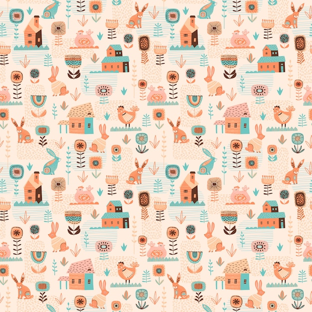 Vector seamless pattern with easter symbols. Premium Vector