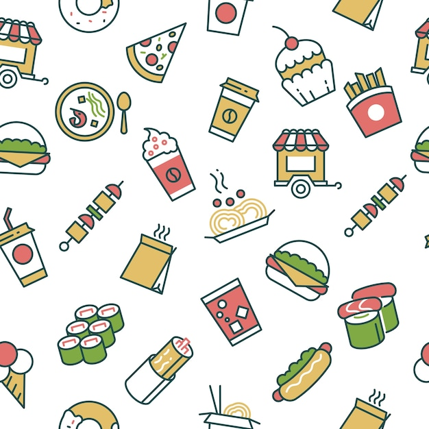 Vector seamless pattern with fast food line icons Premium Vector