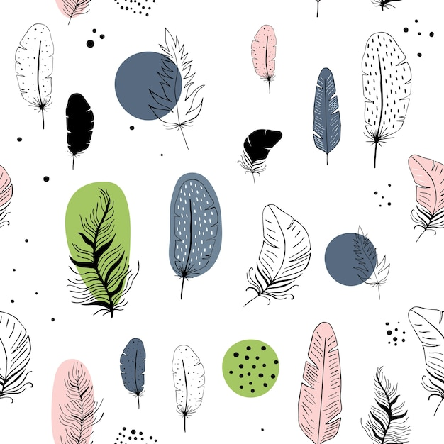 Vector seamless pattern with feathers in scandinavian style. Premium Vector