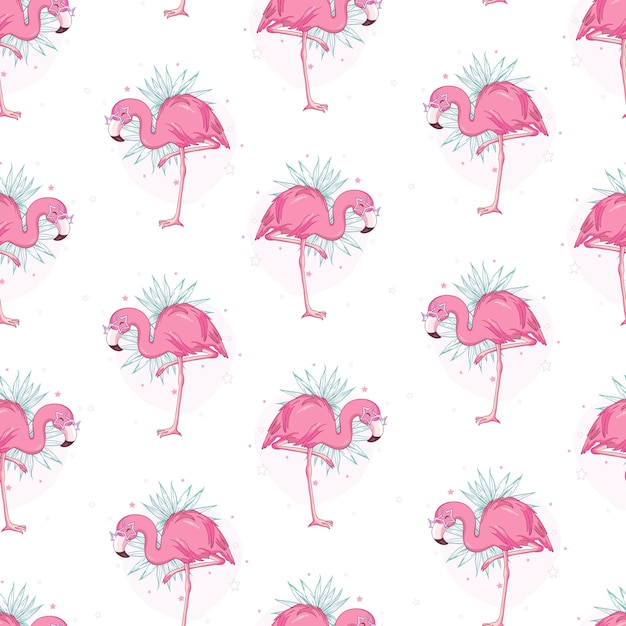 Vector seamless pattern with flamingos Premium Vector