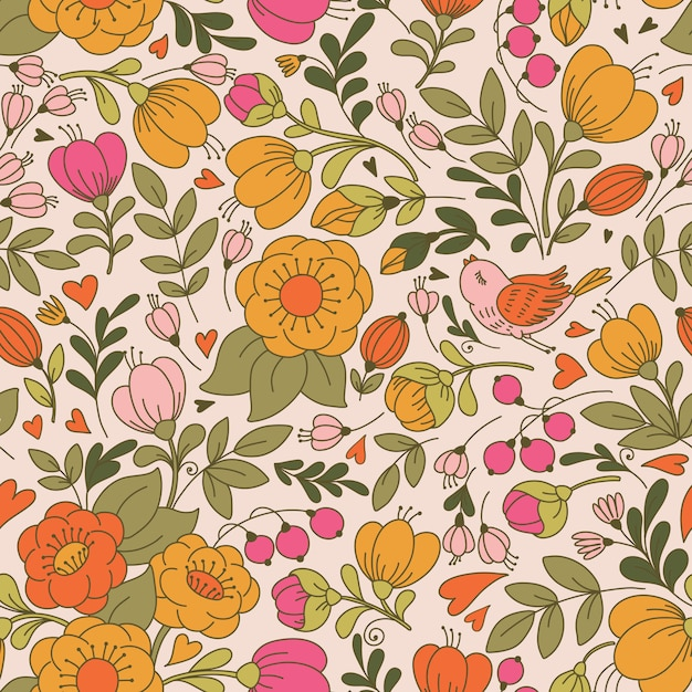 Vector seamless pattern with flower and birds Premium Vector