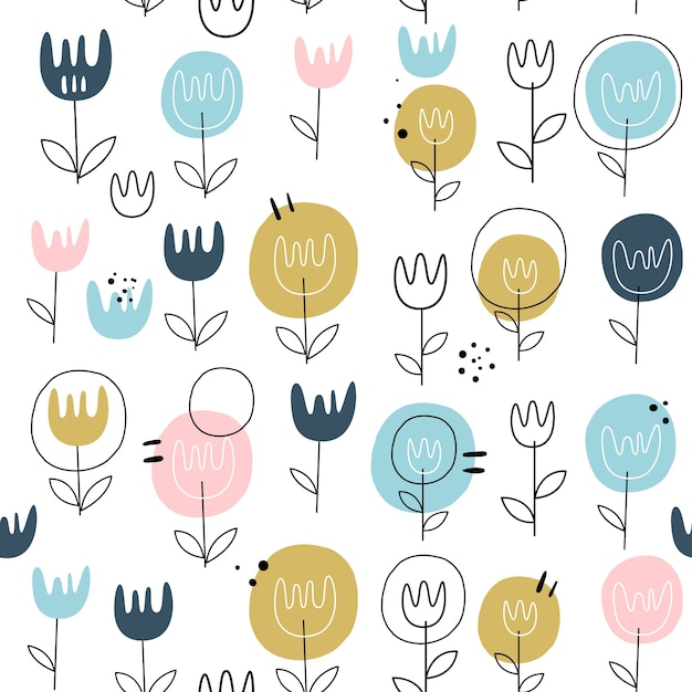 Vector seamless pattern with flowers. scandinavian style. Premium Vector