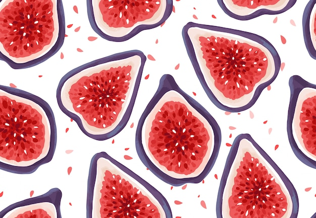 Vector seamless pattern with fresh figs. exotic fruits Premium Vector
