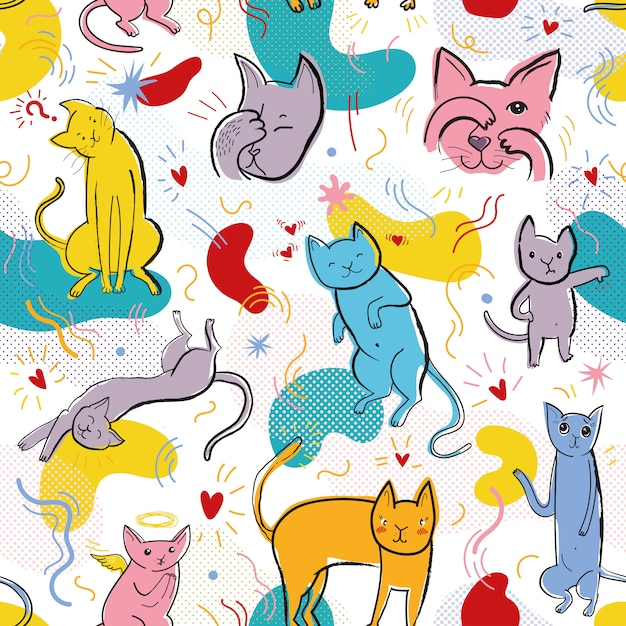 Бесшовный узор вектор с забавными кошками в стиле мемфис Premium векторы