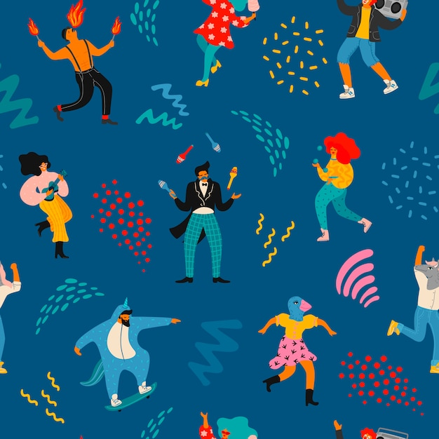 Vector seamless pattern with funny dancing men and women in bright modern costumes. Premium Vector