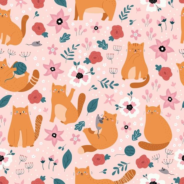 生姜落書き猫とのシームレスなパターンをベクトルします。ピンクの背景に手描きの春の花。 Premiumベクター