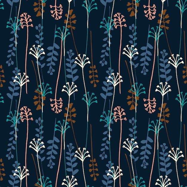 Vector seamless pattern with hand drawing wild plants, herbs and flowers. Premium Vector