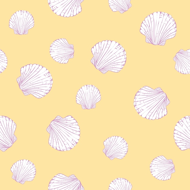 Vector seamless pattern with hand drawn scallop shells Premium Vector