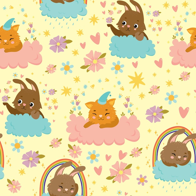 Vector seamless pattern with hares and cats on the clouds, magic sky, sunset, rainbow, rain Premium Vector