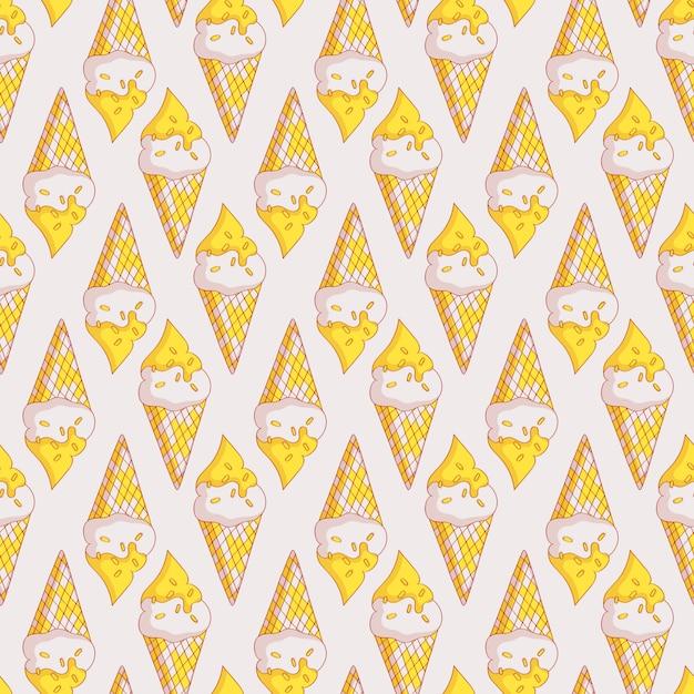 Vector seamless pattern with ice cream. Premium Vector