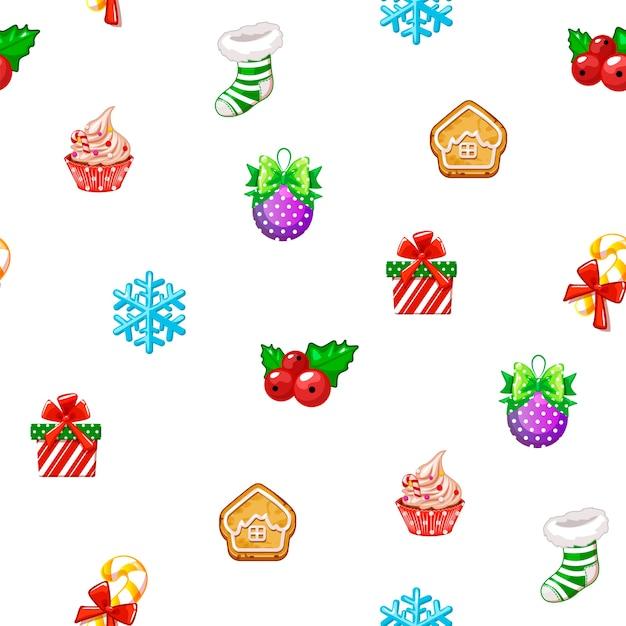 白い背景の上の幸せな新年とクリスマスの日のアイコンとシームレスなパターンをベクトルします。 Premiumベクター