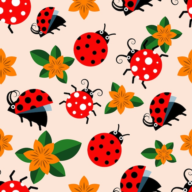 Vector seamless pattern with ladybugs Premium Vector