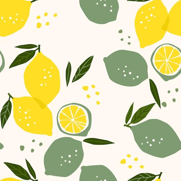 レモンとライムのベクトルシームレスパターン Premiumベクター