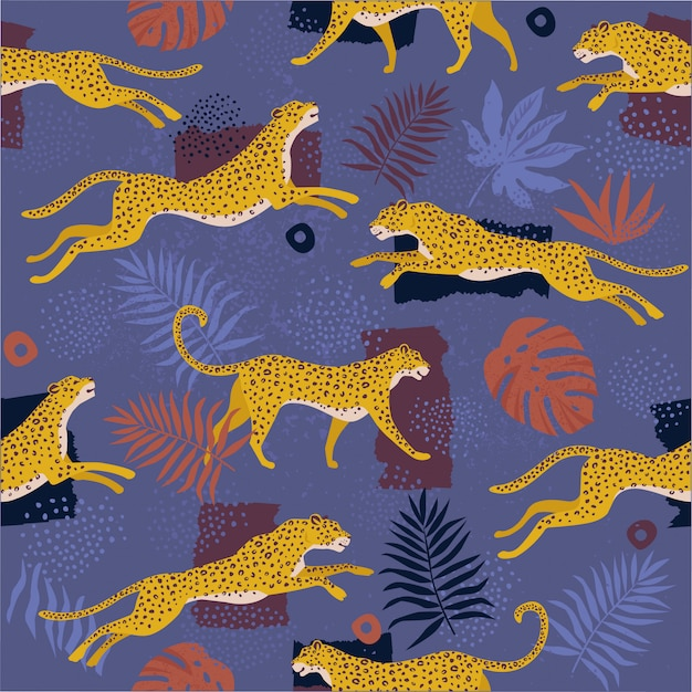 Vector seamless pattern with leopards and tropical leaves. Premium Vector