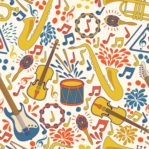 Vector seamless pattern with musical instruments. Premium Vector