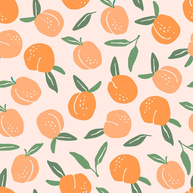 Vector seamless pattern with peaches. Premium Vector