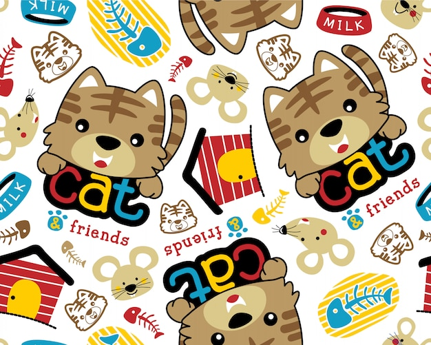 Vector seamless pattern with pets cartoon Premium Vector
