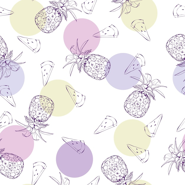 Vector seamless pattern with pineapples Premium Vector