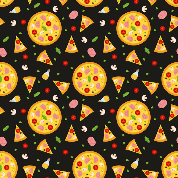 Vector seamless pattern with pizza. for wallpapers, wrapping paper, cards and web illustration. Premium Vector