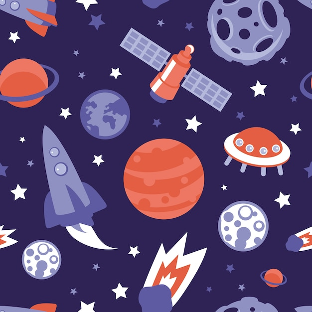 Vector seamless pattern with planets, ships and stars - background in vintage flat style Premium Vector