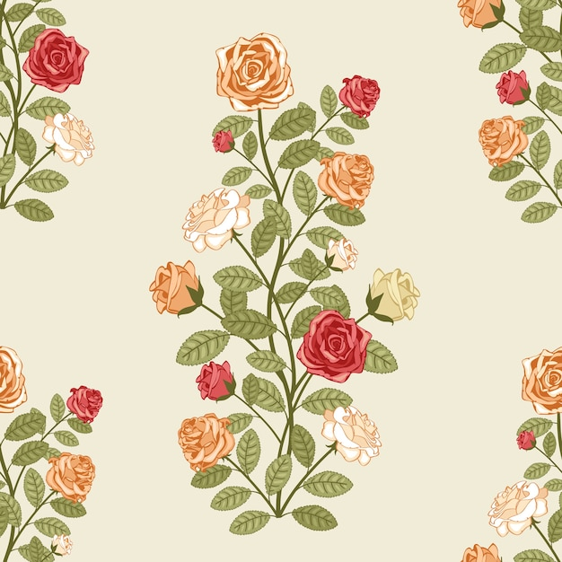 Vector seamless pattern with roses in vintage victorian style Free Vector